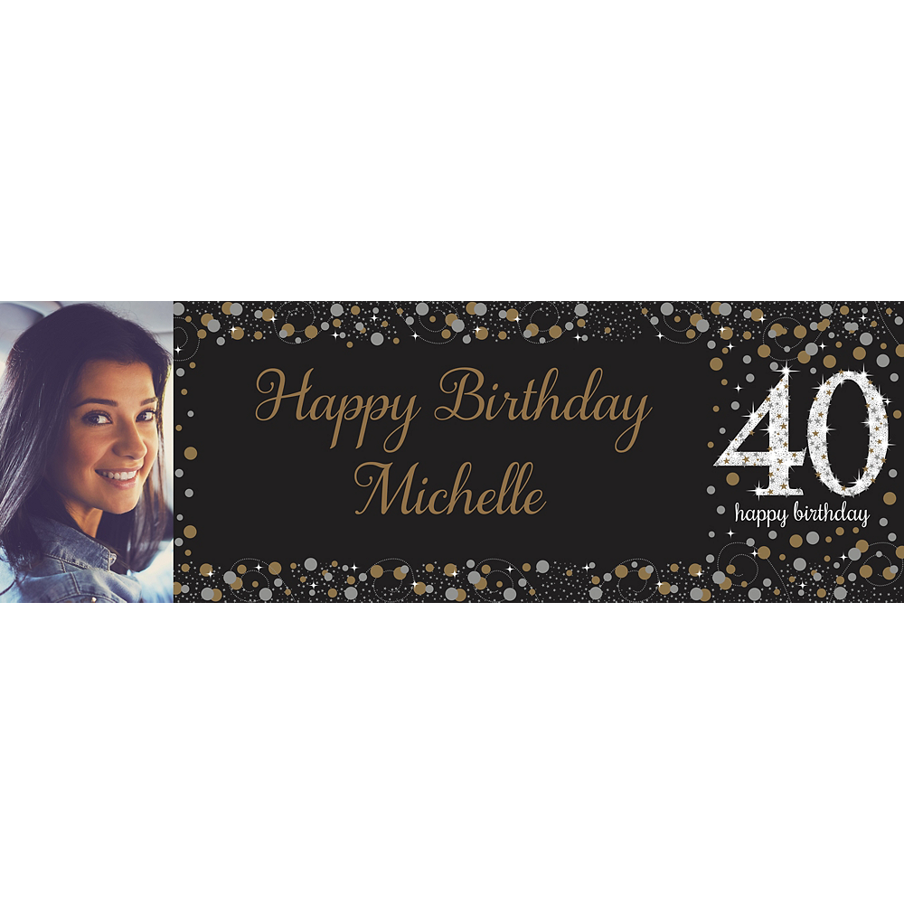 Custom Sparkling Celebration 40 Photo Horizontal Banner Image #1