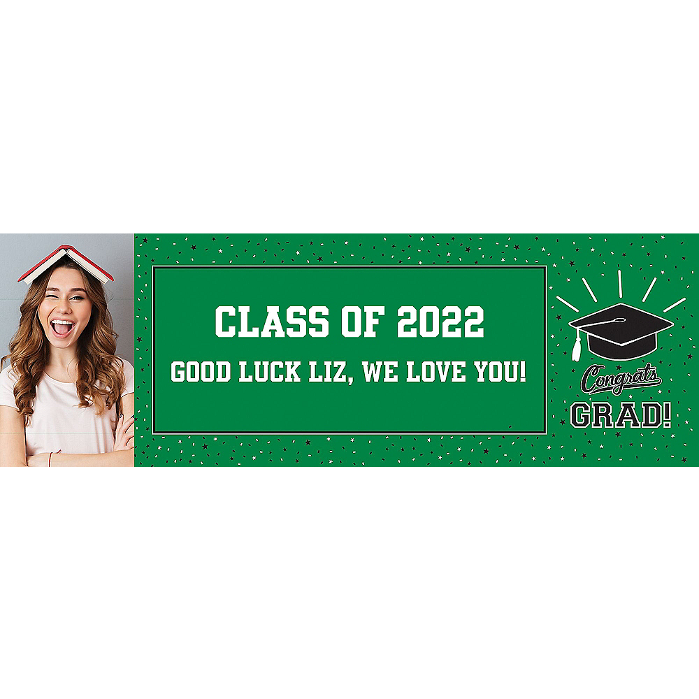 Custom School Colors Pride Green Photo Horizontal Banner Image #1