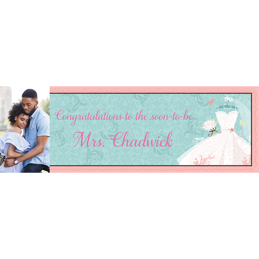 Custom Something Blue Bridal Shower Photo Horizontal Banner Image #1