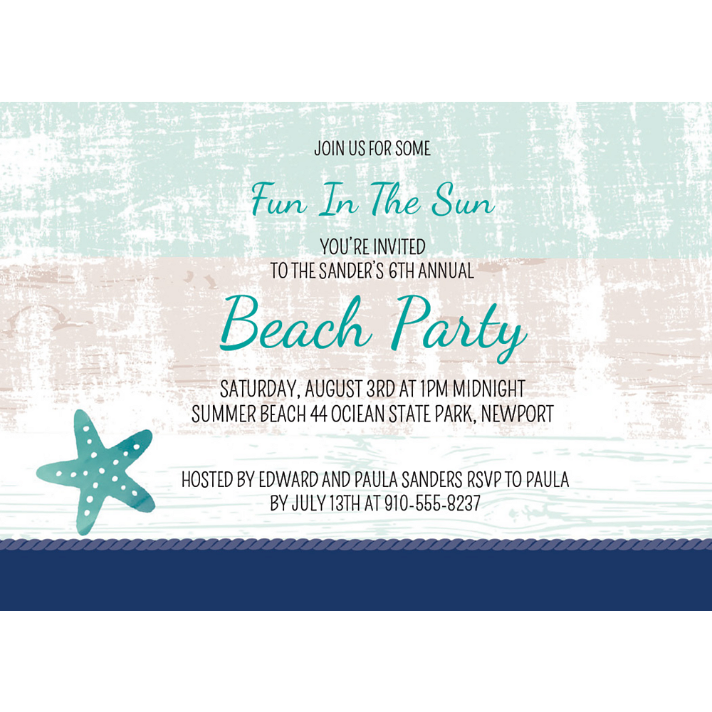 Custom Sea, Sand & Sun Invitations Image #1