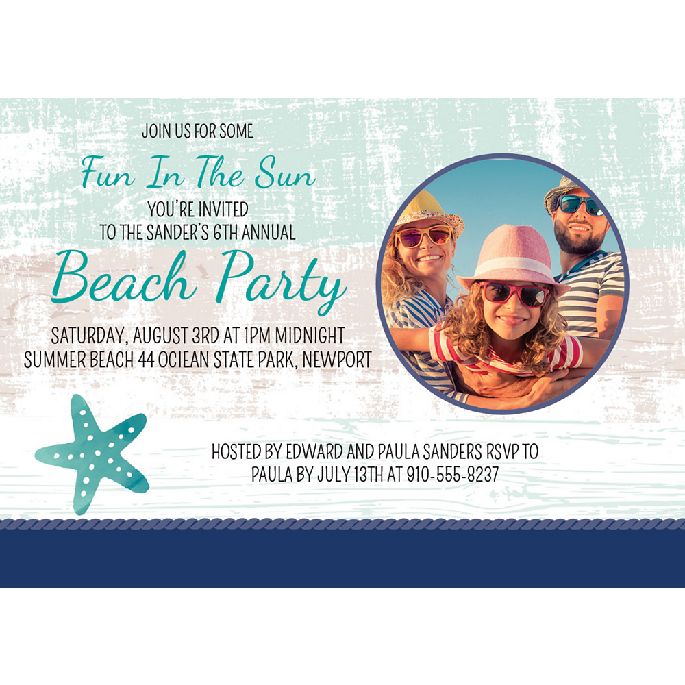 Custom Sea, Sand & Sun Photo Invitations Image #1