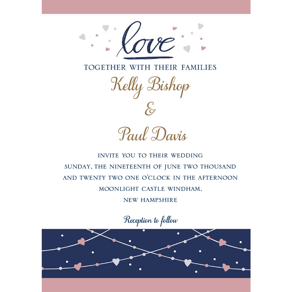 Custom Navy Love Bridal Invitations Image #1