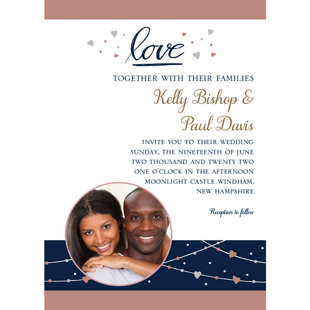 Custom Navy Love Bridal Photo Invitations Image #1
