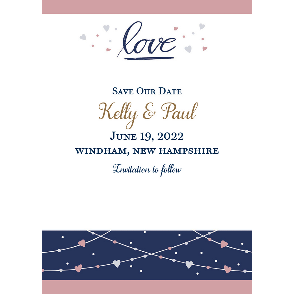 Custom Navy Love Bridal Announcements Image #1
