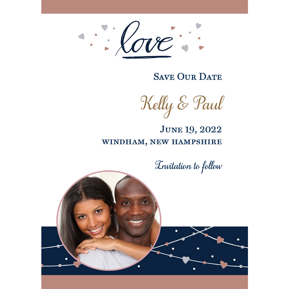 Custom Navy Love Bridal Photo Announcements Image #1
