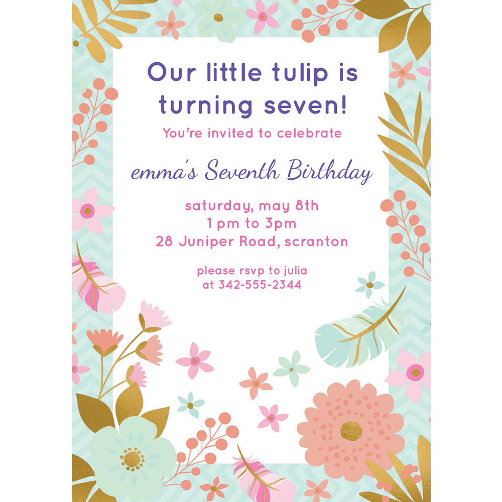 Custom Boho Floral Invitations Image #1