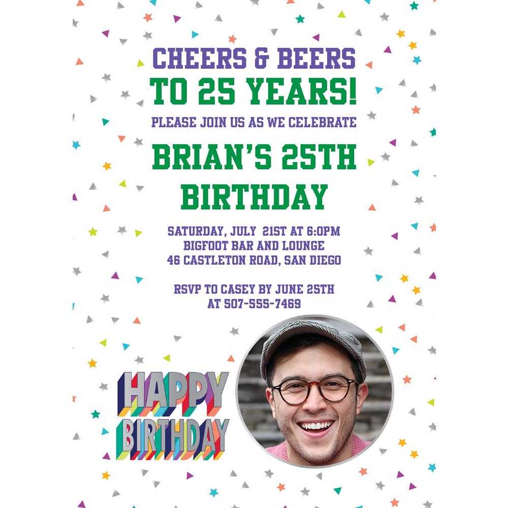 Custom Here's to Your Birthday Photo Invitations Image #1