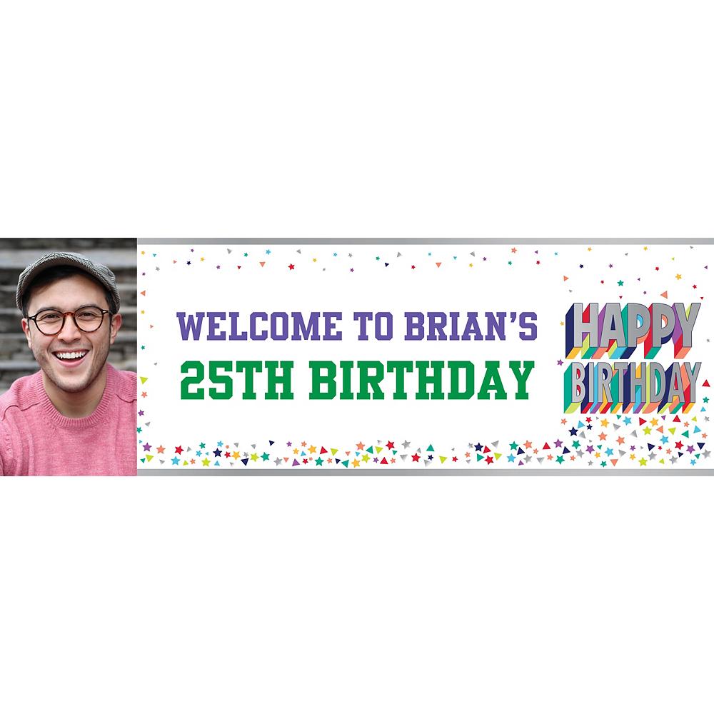 Custom Here's to Your Birthday Photo Horizontal Banner Image #1