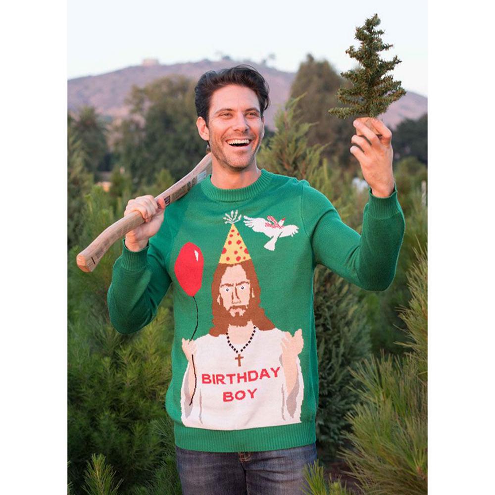 Adult Birthday Jesus Ugly Christmas Sweater Image #3