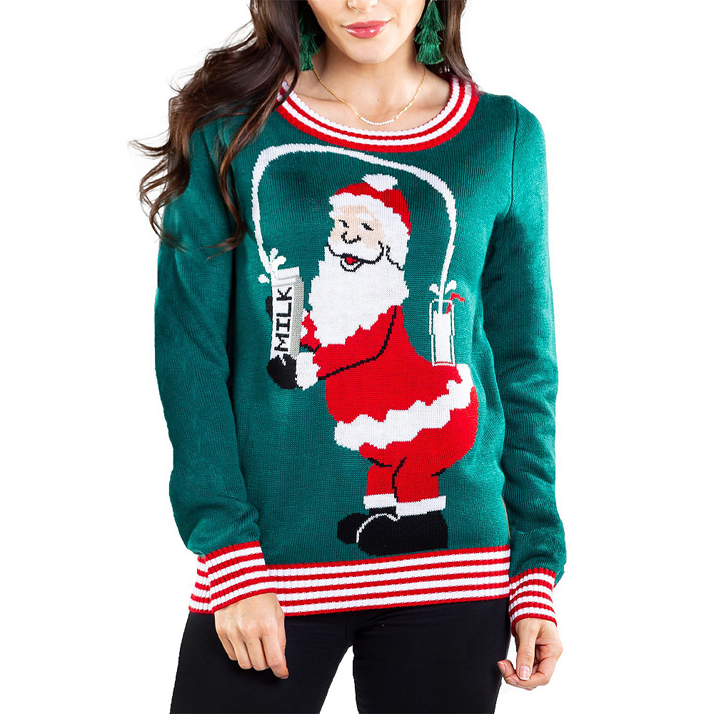 Adult Santa Breaks the Internet Ugly Christmas Sweater Image #1