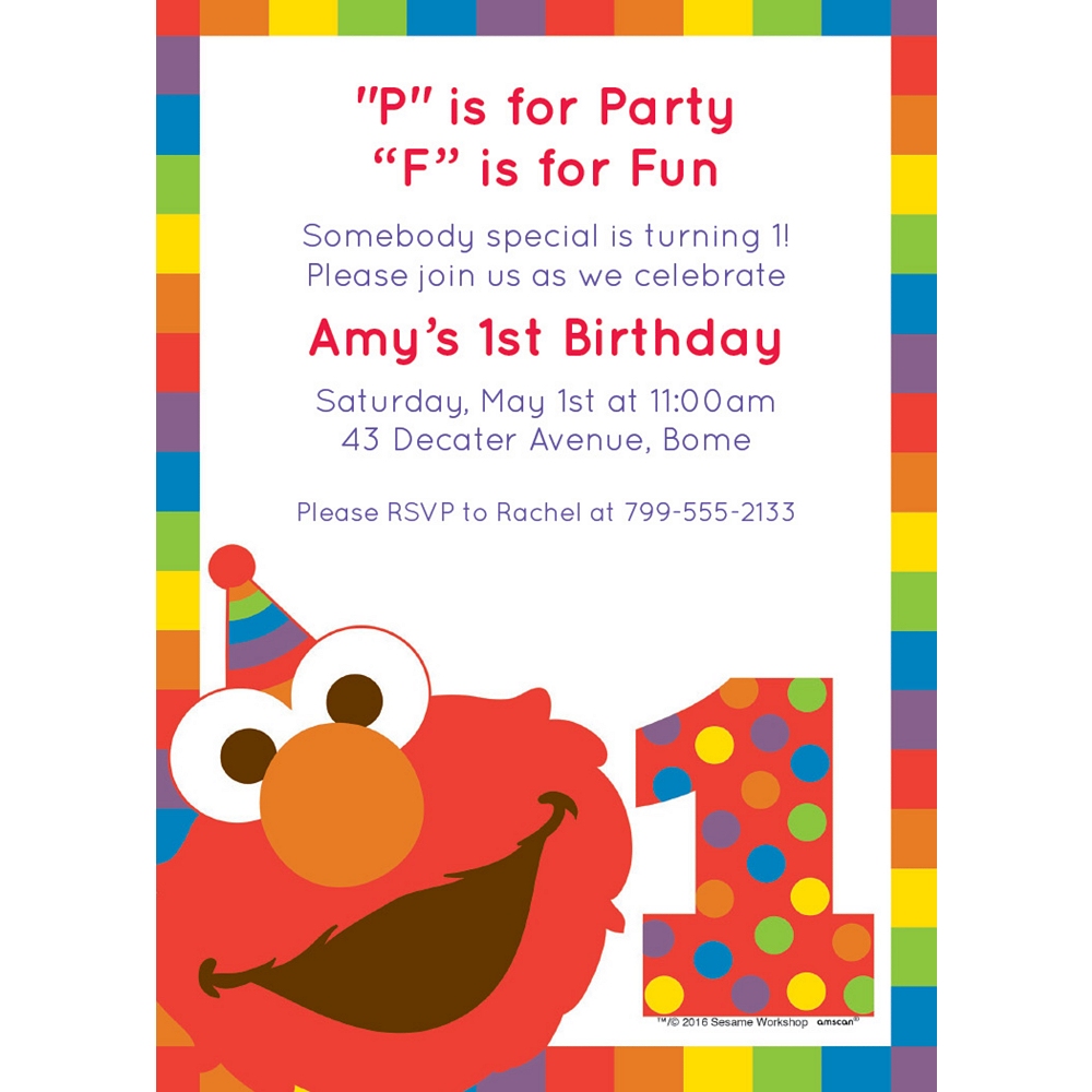 Nav Item for Custom Elmo 1st Birthday Invitations Image #1