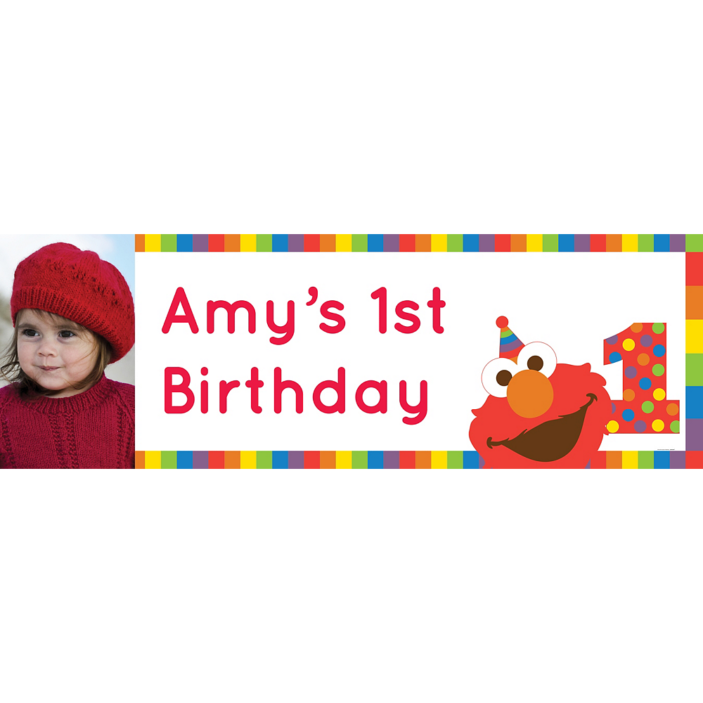 Custom Elmo 1st Birthday Photo Horizontal Banner Image #1