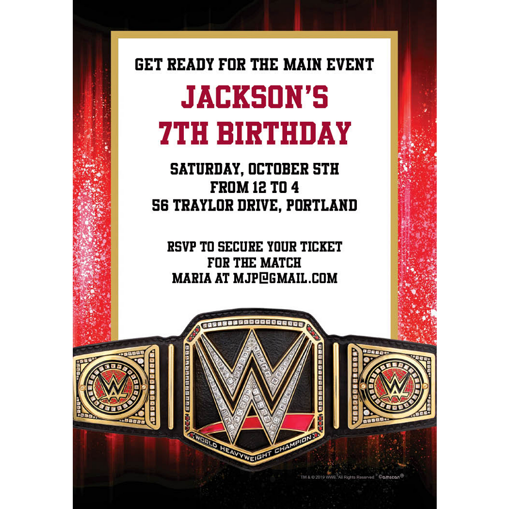 Custom WWE Invitations Image #1