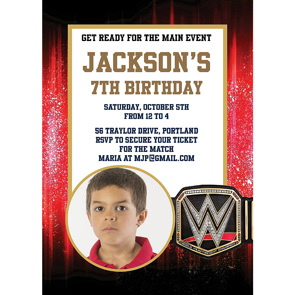 Custom WWE Photo Invitations Image #1