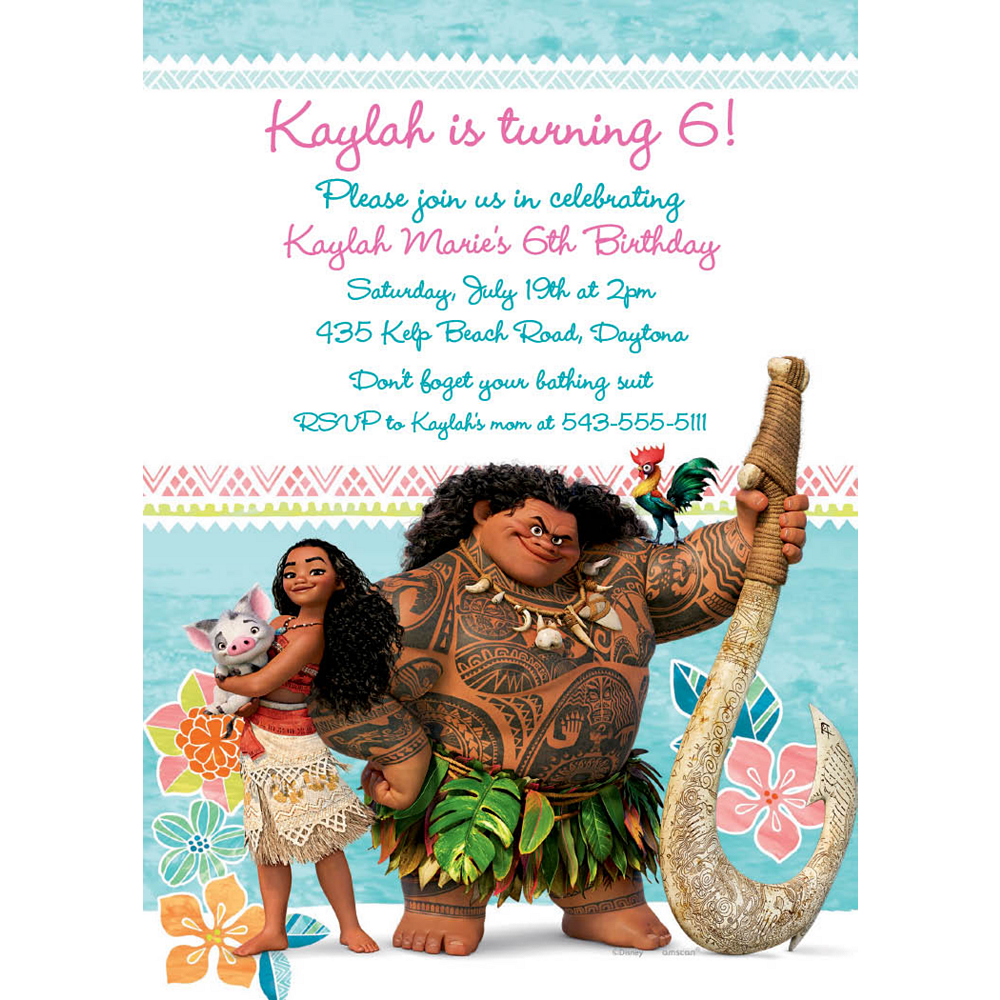 Custom Moana Invitations Image #1