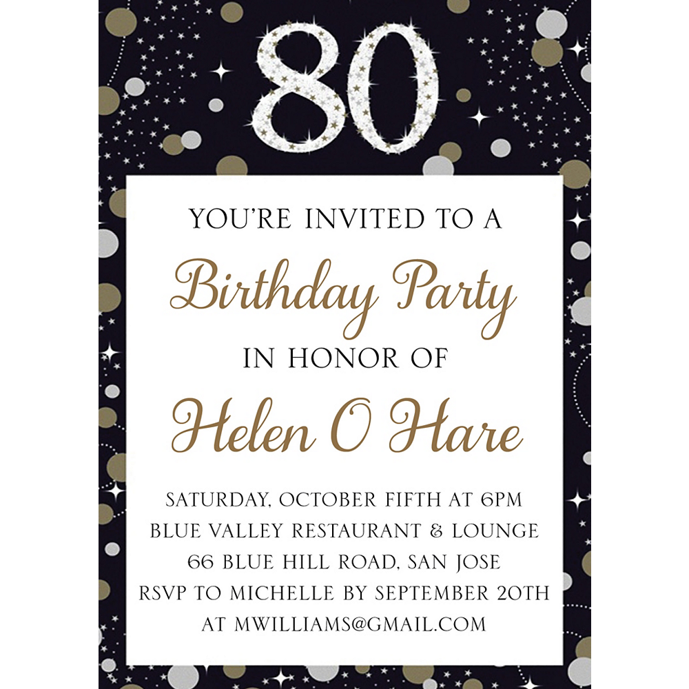Custom Sparkling Celebration 80 Invitations Image #1