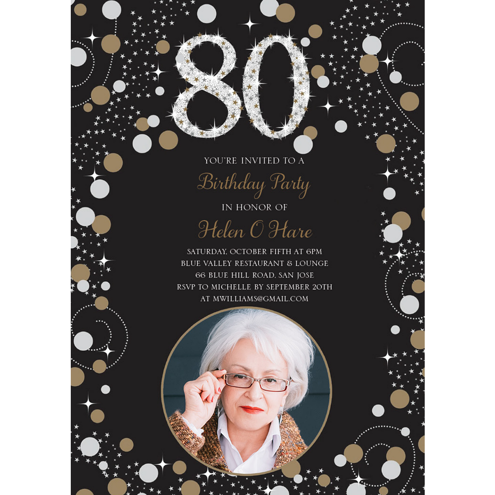Custom Sparkling Celebration 80 Photo Invitations Image #1
