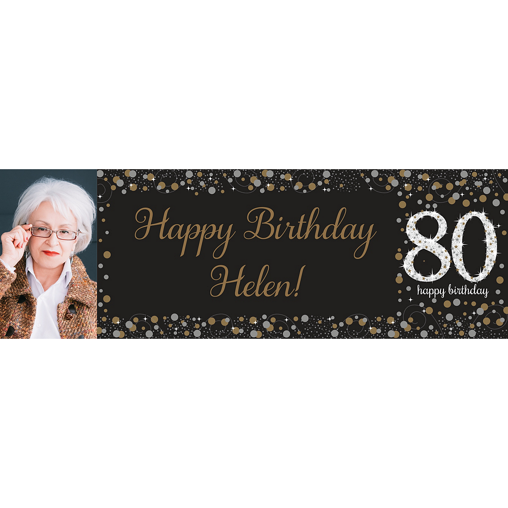 Custom Sparkling Celebration 80 Photo Horizontal Banner Image #1