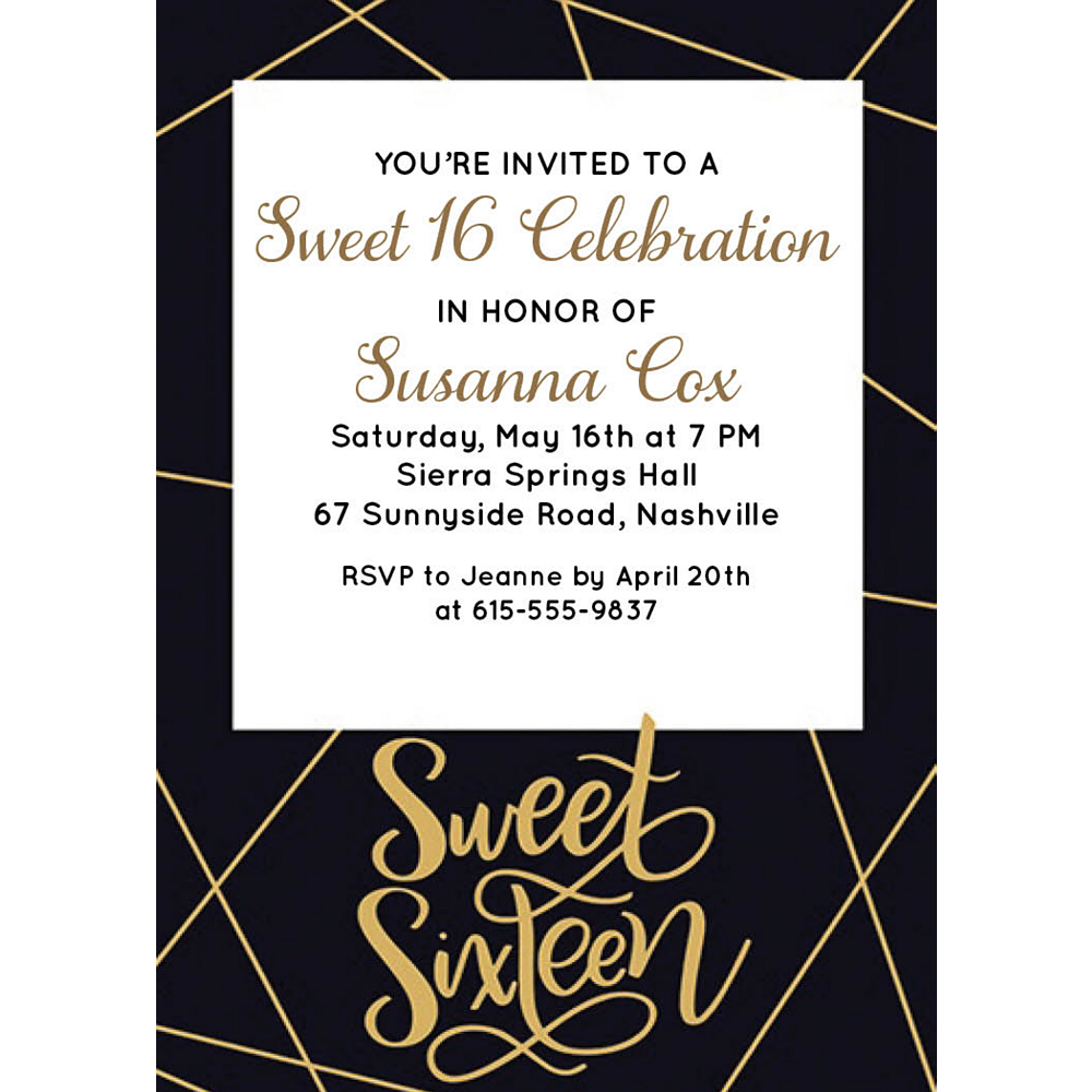 Custom Elegant Sweet 16 Invitations Image #1