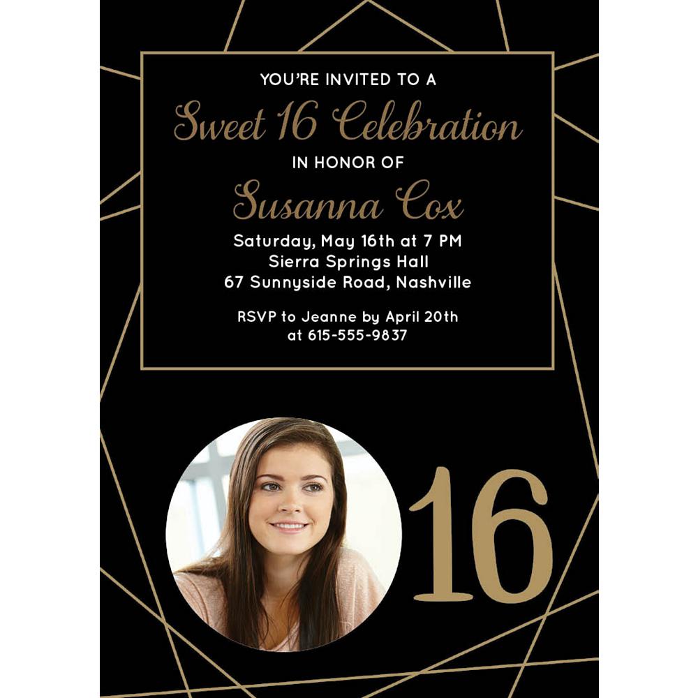 Custom Elegant Sweet 16 Photo Invitations Image #1