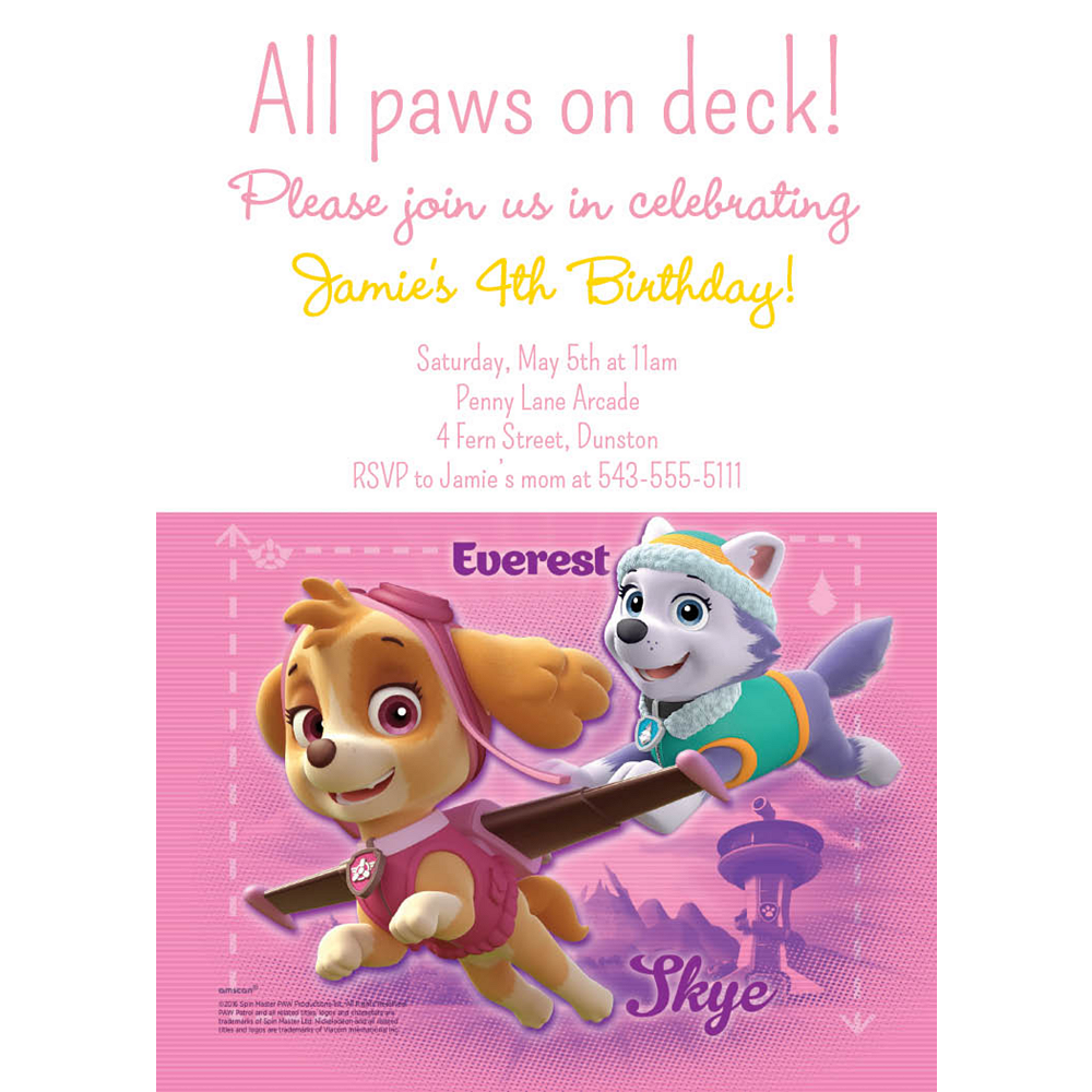 Custom Pink PAW Patrol Invitation Image #1