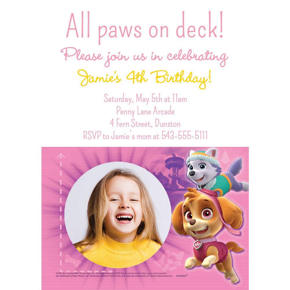 Custom Pink PAW Patrol Photo Invitation Image #1