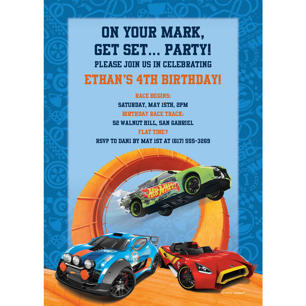 Custom Hot Wheels Wild Racer Invitations Image #1