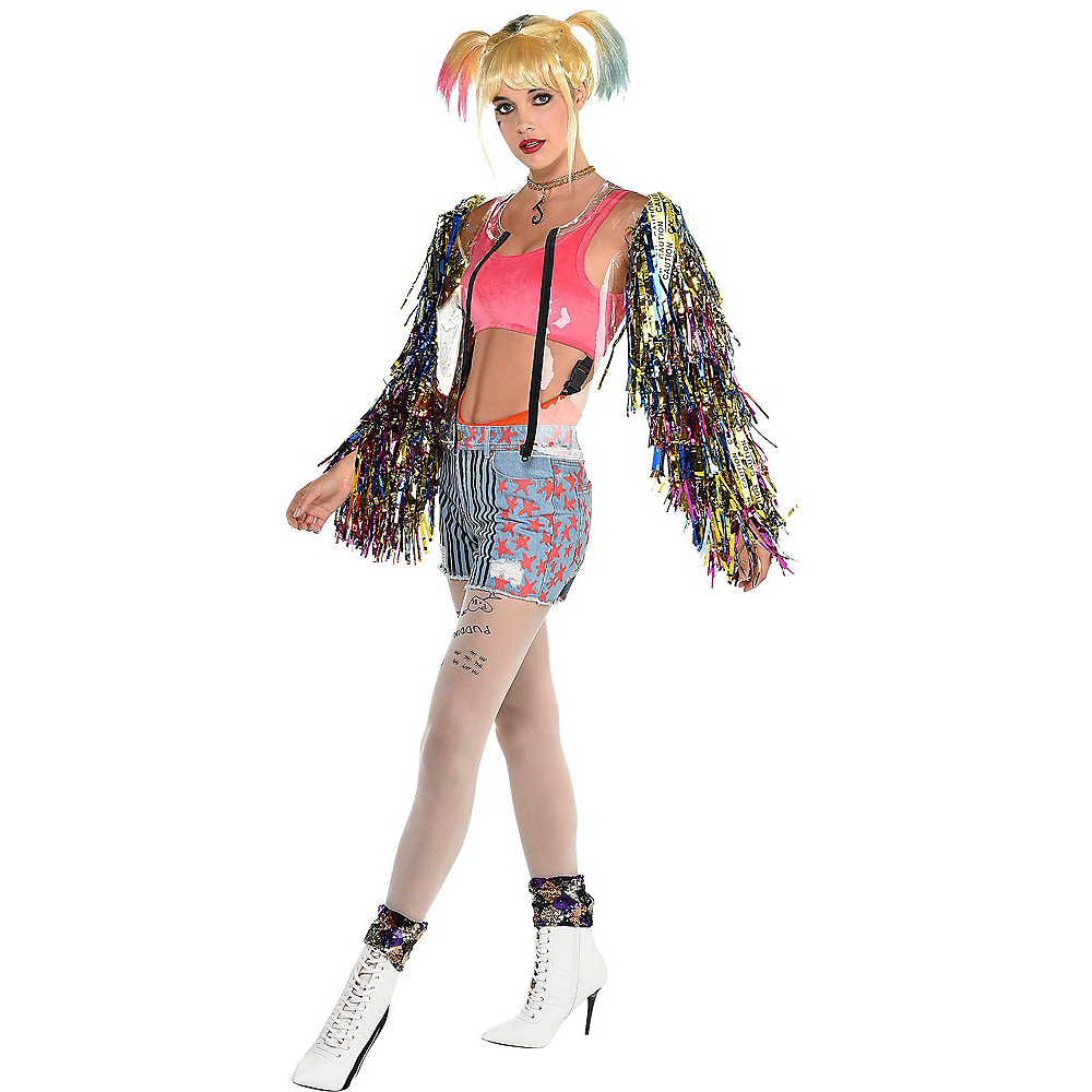 Nav Item for Adult Harley Quinn Clear Jacket with Fringe Sleeves - Birds of Prey Image #1