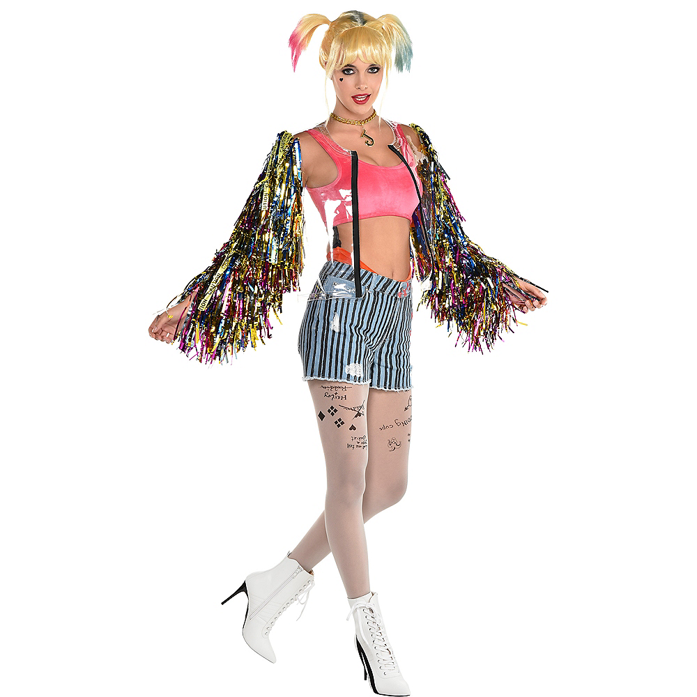 Adult Harley Quinn Clear Jacket With Fringe Sleeves Birds Of Prey Party City