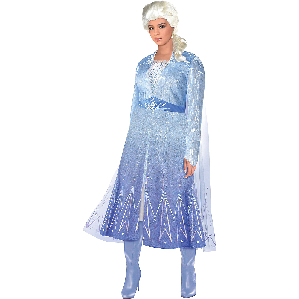 Adult Act 2 Elsa Costume Plus Size with Wig - Frozen 2 Image #1