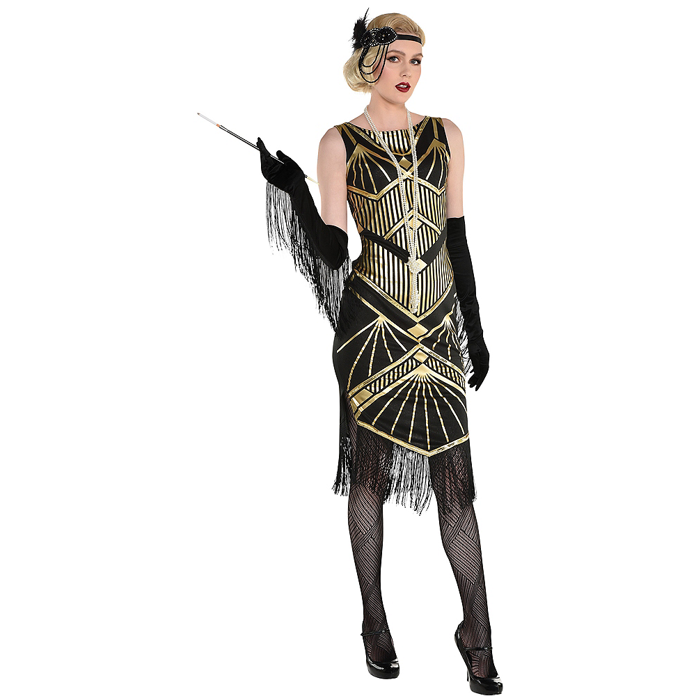 Nav Item for Adult Roaring 20s Gold Art Deco Flapper Costume Image #1