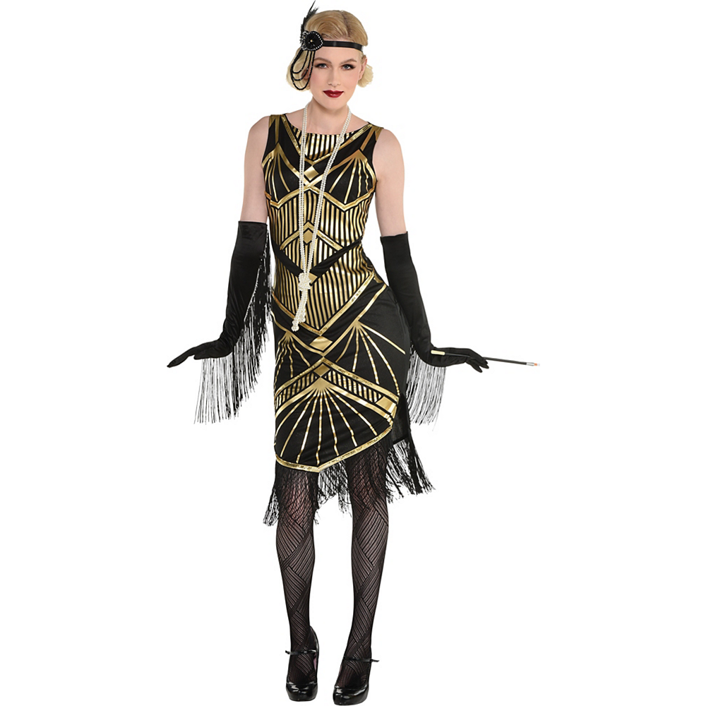 Nav Item for Adult Roaring 20s Gold Art Deco Flapper Costume Image #2
