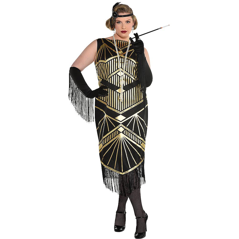 Adult Roaring 20s Gold Art Deco Flapper Costume Plus Size Image #1