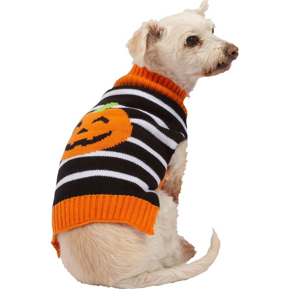 Jack-o'-Lantern Striped Dog Sweater Image #1
