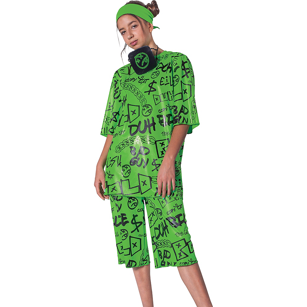 Child Green Billie Eilish Costume Image #1