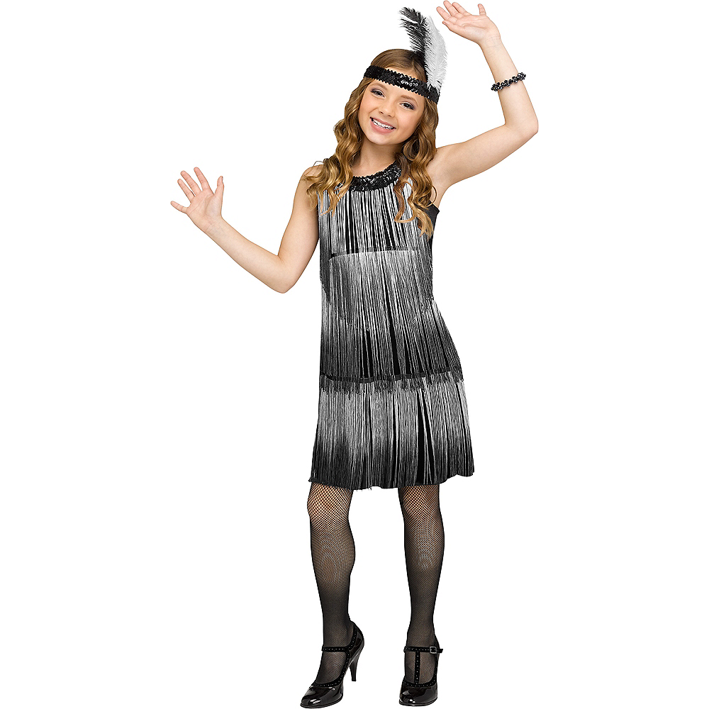 Child Black & White Flirty Flapper Costume Image #1