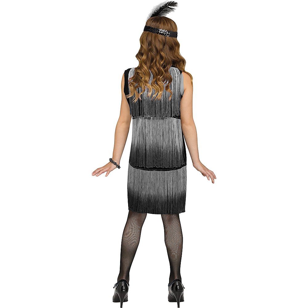 Child Black & White Flirty Flapper Costume Image #2