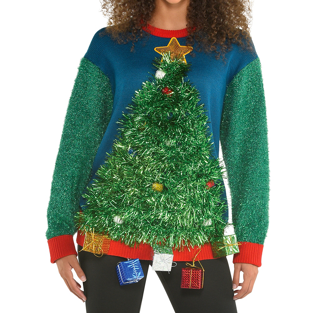 3D Tinsel Tree Ugly Christmas Sweater for Adults Image #1