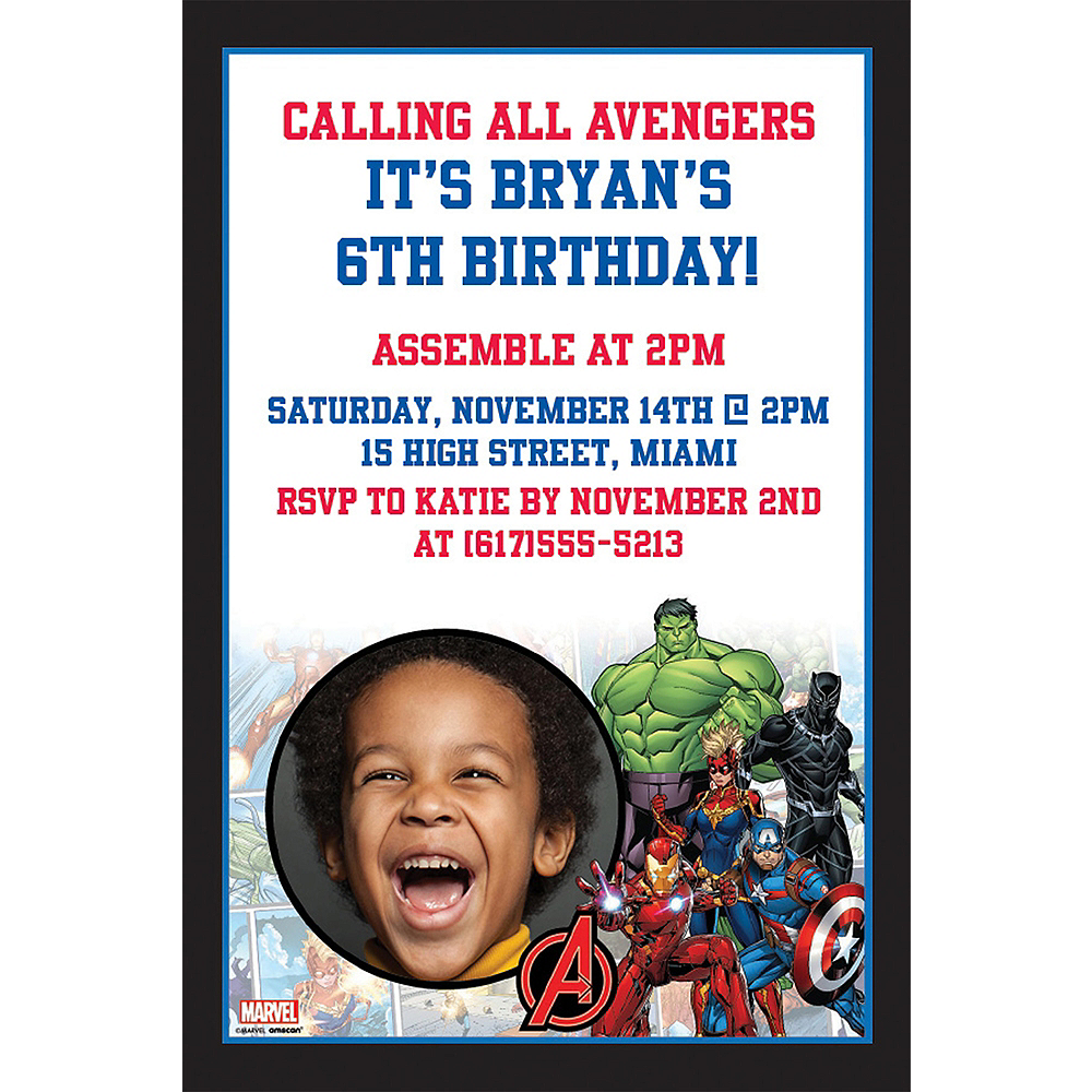 Custom Marvel Powers Unite Photo Invitations Image #1