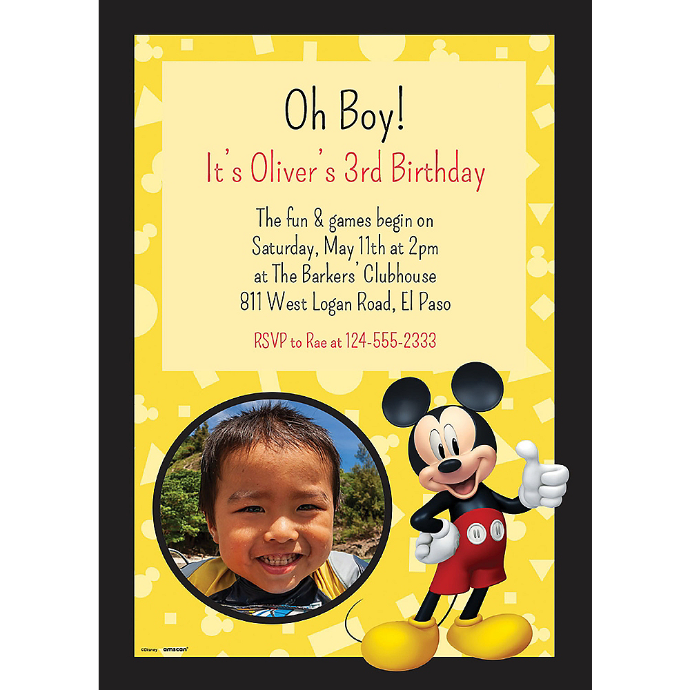 Nav Item for Custom Mickey Mouse Forever Photo Invitations Image #1