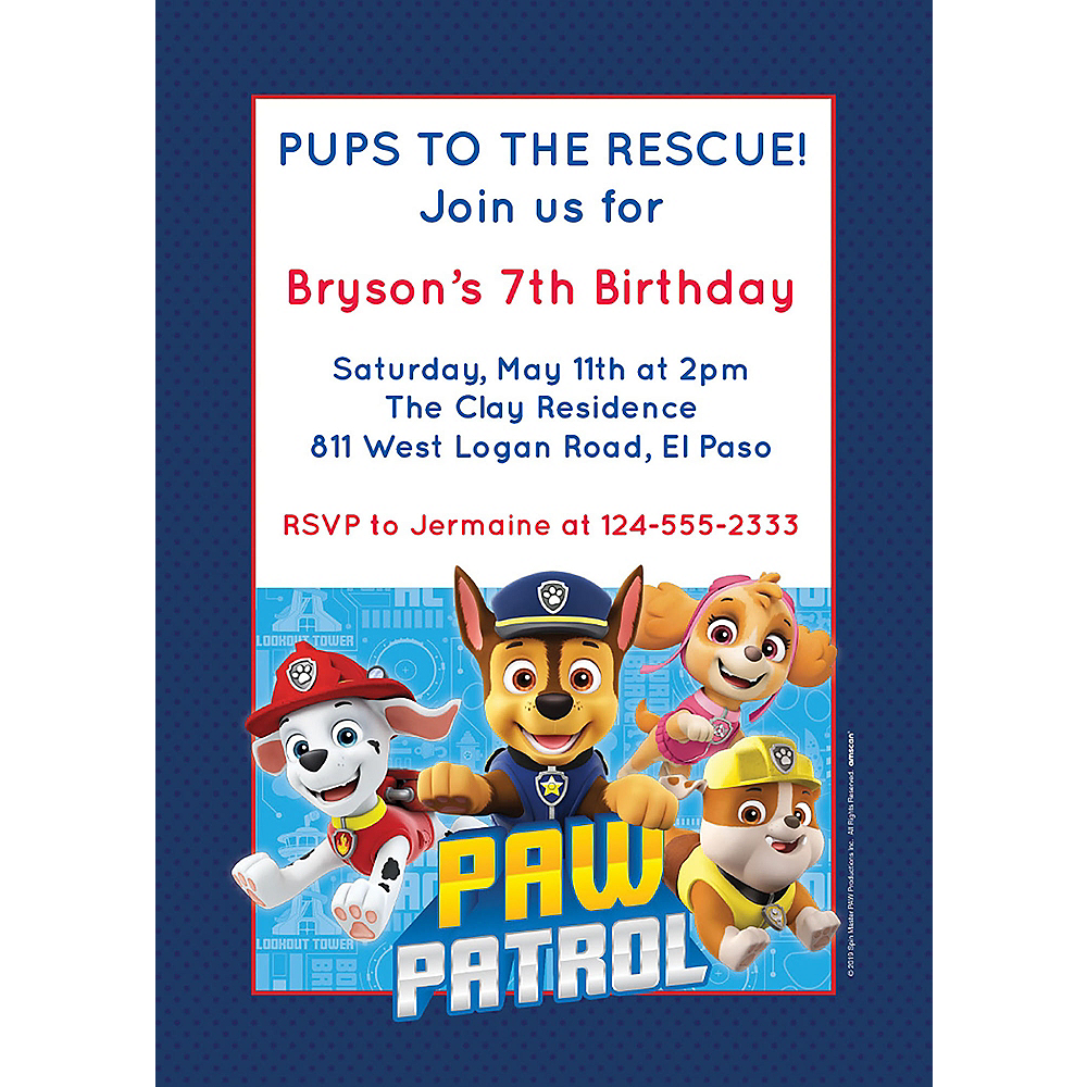Custom PAW Patrol Adventures Invitations Image #1