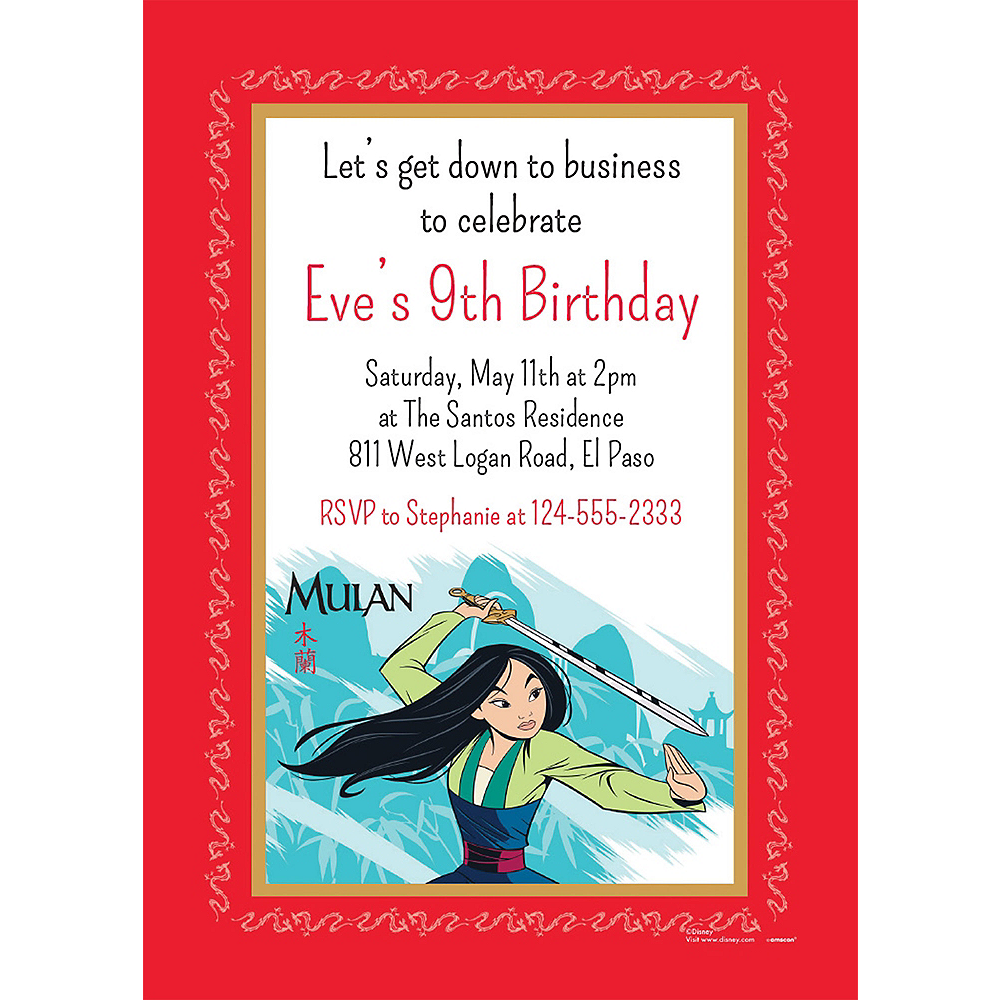 Nav Item for Custom Mulan Invitations Image #1