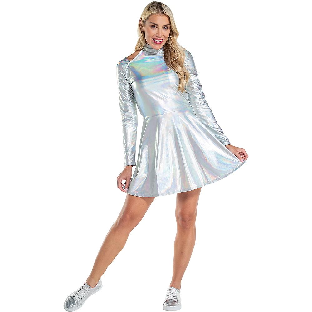 Adult Silver Alien Dress Image #1