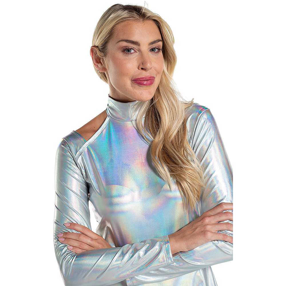 Adult Silver Alien Dress Image #2