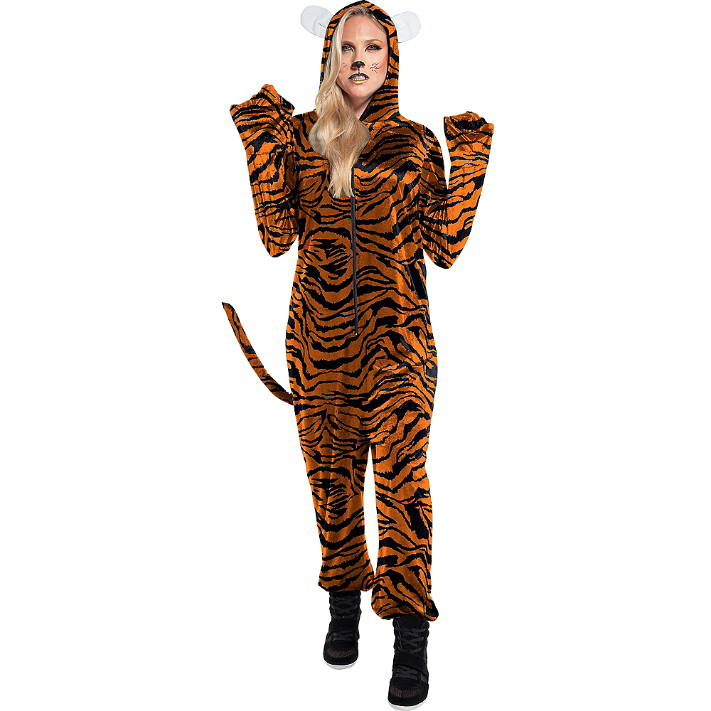 Adult Zipster Tiger One Piece Costume Image #1