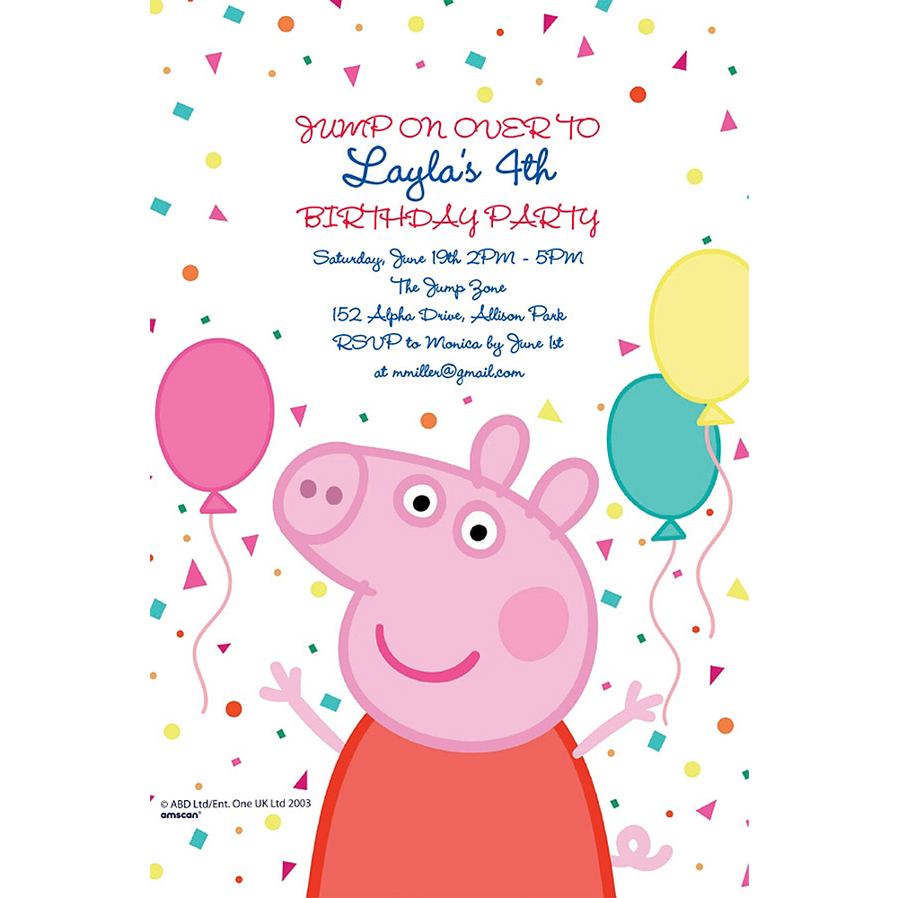 Custom Peppa Pig Invitations Image #1