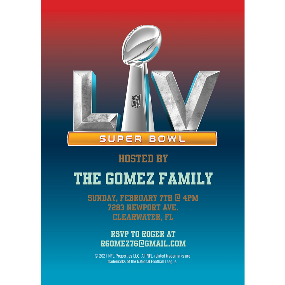 Nav Item for Custom Super Bowl 55 Invitations Image #1