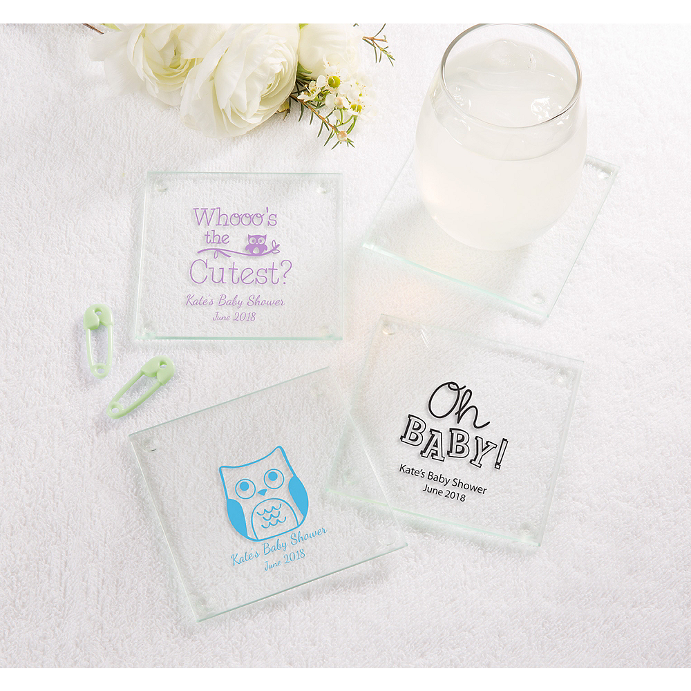 Gender Neutral Personalized Baby Shower Glass Coasters Printed