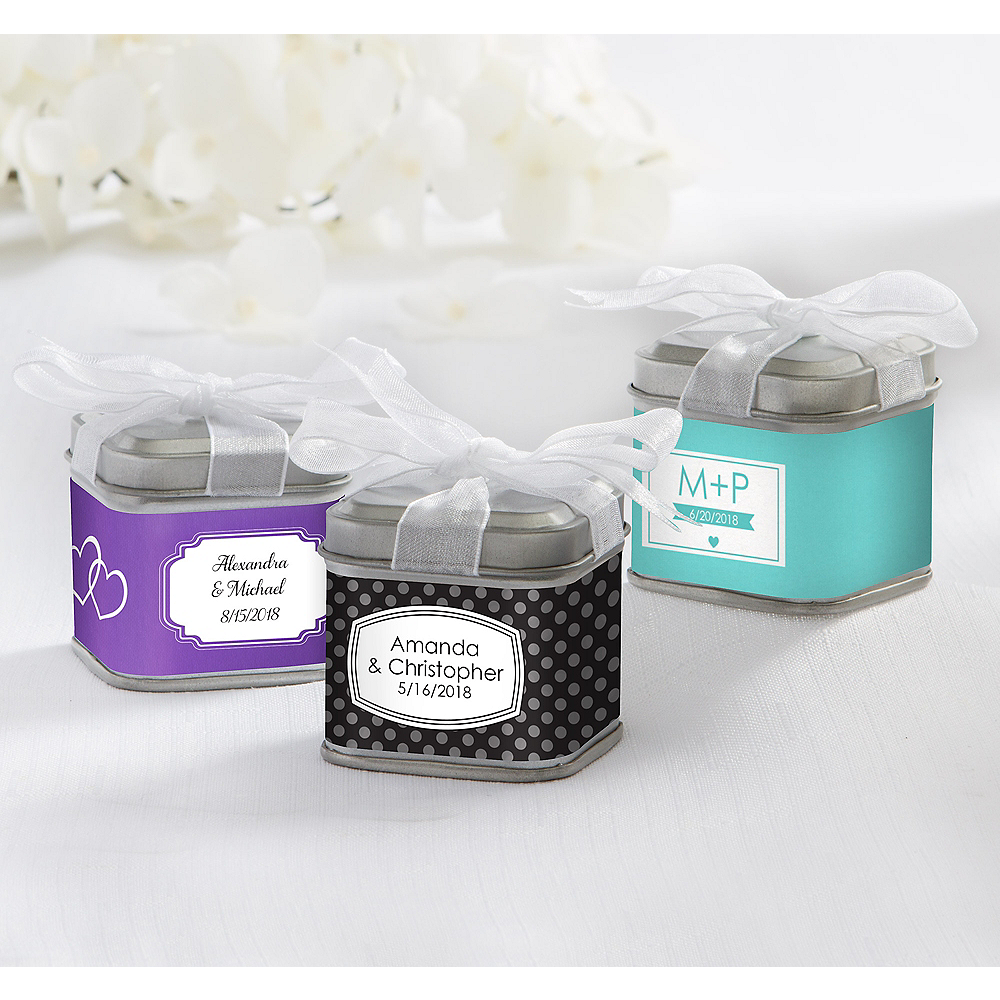 Personalized Wedding Favor Tins With Bows Brprinted Labelbr