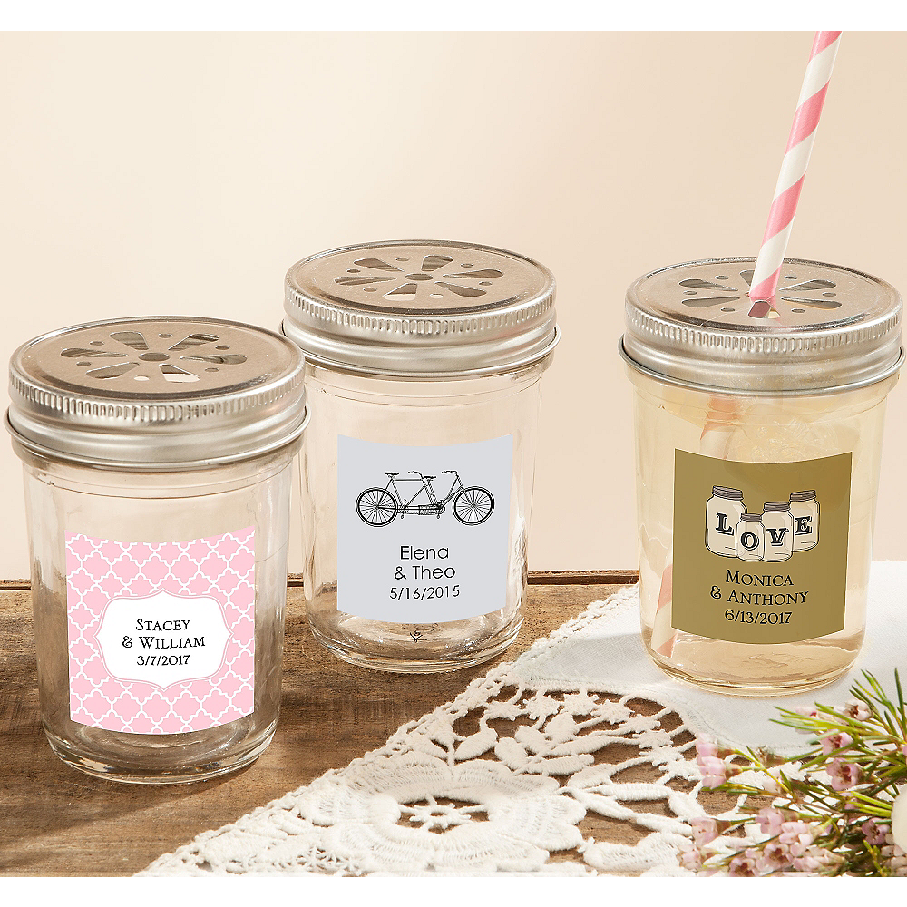 personalized clear mason jars 12ct party city